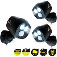 Panta Safe Light | 3 Stück Sicherheitslicht | Außenleuchte Wandleuchte mit Bewegungssensor – Lichtsensor | kabellos für innen und außen | IP65 | Das Original aus dem TV