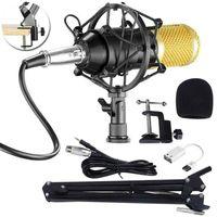 BM800 Kondensator Mikrofon Mic Professionell Stand Mikrofone Komplett Set für Studio
