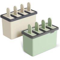 2 Eisformen aus Silikon mit Holzstielen, BPA frei, spülmaschinenfest