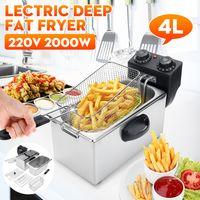 4L elektrische Fritteuse Fritteuse Antihaftpfanne Edelstahl Bratpfannenkorb