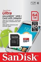 """SanDisk Ultra micro SDXC 80MB/s Class 10 Speicherkarte + Adapter """"Android"""" 64GB"""