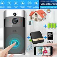 Türklingel mit Kamera HD WLAN Nachtsicht Video Funkklingel Funk Ring Doorbell +Akku+SD-Karte