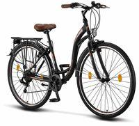 Licorne Bike Stella Premium City Bike in 24, 26 und 28 Zoll - Fahrrad für Mädchen, Jungen, Herren und Damen - Shimano 21 Gang-Schaltung - Hollandfahrrad , Farbe:Schwarz, Zoll:28
