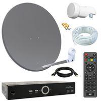 Digital SAT Anlage 60cm + HD RECEIVER + 10m Kabel + Opticum single LNB = HD Komplett Set (3 Farben wählbar)