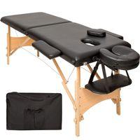 tectake 2 Zonen Massageliege mit 5cm Polsterung und Holzgestell - schwarz