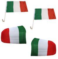 """Fan-Paket-3 """"Italien"""" Italy Italia WM EM Länder Fußball Flaggen Fahren Autoset Spiegelflaggen"""