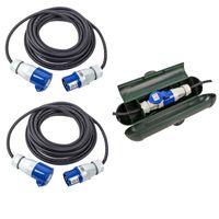 CEE Kabel Set - 2x 10 Meter CEE Kabel + CEE Sicherheitsbox für Wohnwagen