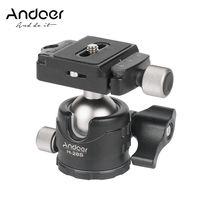 Andoer H28S Mini-Kugelkopf 360-Grad-Panorama-Tischkopf mit niedrigem Profil Einbeinstativ-Kugelkopfhalterung mit Schnellwechselplatte und Luftblasenstufe Kompatibel mit Canon Nikon Sony DSLR-Kameras