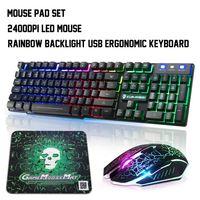 RGB Mauspad + LED Beleuchtet Gaming Tastatur & Maus Set USB Mechanische Gefühl (englisches Tastaturlayout)
