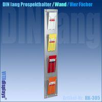 Wandprospekthalter DIN lang (DL) mit 4 Fächern
