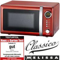 Melissa 16330109 CLASSICO Retro 20 Liter Mikrowelle Rot Metallic