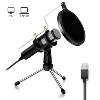 PC Mikrofon Kondensator Mikrofon, podcast Microfon, Computer Standmikrofon Aufnahmemikrofon Microphone für studio Aufnahmen Skype YouTube mit Ständer und Popschutz (Windows/Mac)