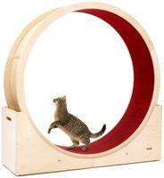 Elmato 10701 Simba L Katzenlaufrad komplett montiert deutsche stabile Qualität in Natur, roter Teppich, ca. 120cm