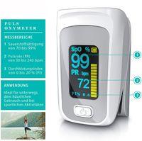Pulsoximeter Finger - SpO2 Pulsmesser – Fingerpulsoximeter - Messung von Puls und Sauerstoffsättigung am Finger – LED Display - Batterieanzeige – Alarm – One Touch Bedienung