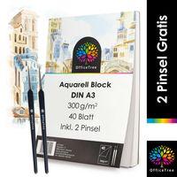 OfficeTree Aquarellblock A3 300g /m² 40 Blatt - Aquarellpapier Weiß – Zeichenblock A3 für Wasserfarb