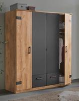 Kleiderschrank Schlafzimmerschrank Glasgow 180cm plankeneiche graphit Industriedesign