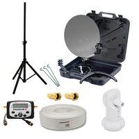 PremiumX Camping Single LNB BASIC 10m Koaxial Kabel F-Stecker Sat Finder Dreibein Stativ