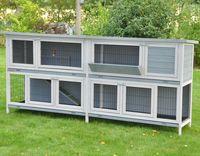 Doppel Hasenstall Kaninchenstall Bommel Deluxe grau -230 x 101 x 50 cm
