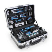 KARCHER Werkzeugkoffer 114-teiliges Tool-Set I Werkzeugset aus Chrom Vanadium & Kohlenstoffstahl mit Hammer, Schraubendreher, Steckschlüssel, Bitsatz uvm. I Praktischer Koffer für Werkzeug
