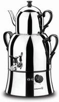 Korkmaz Nosta elektrischer Teekocher 3,9 Liter aus Edelstahl Elektrokocher Wasserkessel Teekanne Rostfrei Teesieb Teeber
