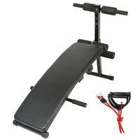 WYCTIN Sit-Up-Bank mit Beinfixierung - mit 2x1,5kgHanteln, Seilen, belastbar bis 100 kg, Schwarz - Hantelbank, Bauchtrainer, Rückentrainer, Trainingsbank