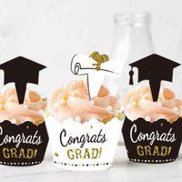 48PCS 2021 Graduation Cupcake Toppers Wrappers Partyzubehör Kuchen Dekorationen LJJ210308848