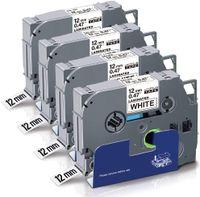 Xemax 4x Kompatibel TZe 12mm Schriftband Ersatz für Brother P-Touch TZe-231 TZe231 TZ-231 Tz Tape 0.47 12mm Schwarz auf Weiß für Brother P-Touch H105 H110 H107B 1010 1000 D400VP D600 E100 Cube Plus