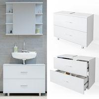 VICCO Waschbeckenunterschrank ILIAS Weiß Schublade Unterschrank Badezimmer