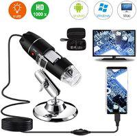 Digitales Mikroskop,USB-Digitalmikroskop 40X bis 1000X, Bysameyee 8 LED-Vergrößerungs-Endoskopkamera mit Tragetasche und Metallständer
