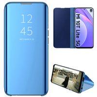 Xiaomi Mi 10T Lite 5G Hülle, LaimTop lichtdurchlässigen Spiegel Abdeckung, Klappetui Kunstleder Schutzhülle mit Standfunktion Blau