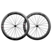 ICAN Carbon Laufräder BD55 Disc Rennrad Laufradsatz 700C Drahtreifen Tubeless Ready Scheibenbremse Centerlock 12x100/12x142mm 1688g