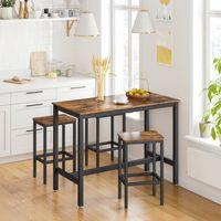 VASAGLE 2er Barhocker Barstühle mit Fußstütze 40 x 30 x 65 cm| Küchenstühle im Industrie-Design Vintage dunkelbraun LBC65X