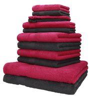 Betz 12-tlg. Handtuch-Set PALERMO,  100% Baumwolle,  Farbe cranberry und anthrazit