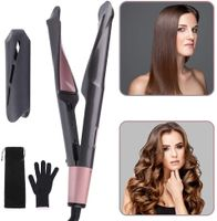 Haarglätter 2-in-1 Curl&Straight, geschwungene Stylingplatten zum Glätten, Locken & Wellen Glätteisen (LCD Display + Temperatureinstellungen 100-230°),Grau