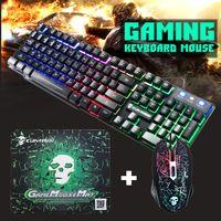 Gaming Tastatur T6 Keyboard Maus Set RGB LED USB Mechanisch für PC Laptop fürPS4