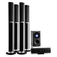 """auna Areal 652 Surround Sound System 5.1-Kanal Heimkinosystem Lautsprechersystem (145 Watt RMS, 16,5 cm (6,5"""")-Sidefiring-Subwoofer, Bassreflex, Bluetooth, USB-Port, SD-Slot, AUX) schwarz"""