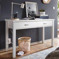 FineBuy Schreibtisch SAMY Weiß mit 2 Schubladen Holz 120 x 77 x 50 cm modern   Konsolentisch Schminktisch platzsparend   Laptoptisch Arbeitstisch für kleine Räume