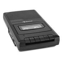 auna RQ-132 - Kassettenrekorder , Tonbandgerät , Diktiergerät , Tape Recorder , verbauter Lautsprecher , automatische Abschaltung , Mikrofon & Kopfhöreranschluss , Netz und Batteriebetrieb , schwarz