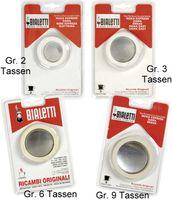 Bialetti Gummidichtungen und Filter für 2 Tassen-Espressokocher, Aluminium