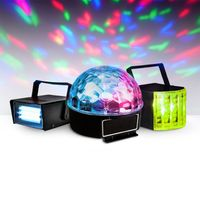 Set van 3 LED-lichtsets - 1 ministrobe + 1 ASTRO-dome + 1 derby-effect