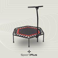 SportPlus Fitness Trampolin, Ø 126cm, leise Gummiseilfederung, 5-fach höhenverstellbarer Haltegriff
