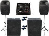 Das PA-SET 23 Powermixer Musikanlage DJ 2Wege Boxen USB Stativ Subwoofer 3600 W
