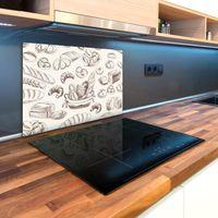 Glas-Herdabdeckplatte Ceranfeldabdeckung Spritzschutz 80x52 Herzen Holz
