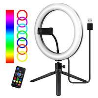 10-Zoll- / 26-cm-RGB-Ringlicht-LED-Fuelllicht Dimmbar 3500K-6500K USB mit Kugelkopfadapter Telefonhalter Desktop-Stativ Fernbedienung fuer Live-Streaming Selfie-Gesichts-Make-up
