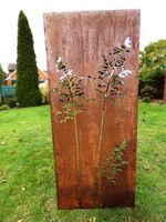 Sichtschutz Sichtschutzelement Stele Wand Edelrost Rost 150 x 62 cm inkl. Bodenanker Gräser