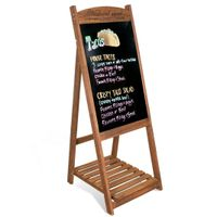 WISFOR Aufsteller mit Ablage, Kundenstopper Kreidetafel Werbetafel Werbeaufsteller Holz für Geschäften, Bars oder Cafés