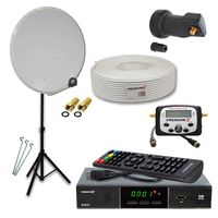 PremiumX Camping Sat Anlage 45cm Antenne LNB Kabel Stativ Receiver SatFinder