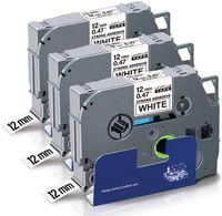 UniPlus 3x Kompatible Schriftband als Ersatz für Brother Tze-S231 TzeS231 Tze Extra-Stark Klebend Laminiert Schwarz auf Weiß für Brother P-Touch H101C 1010 1090 E100 PT-H101 1000 D210, 12mm x 8m