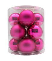 Weihnachtskugeln Glas 8cm, 12 Stück, Farbe:Vivid Pink