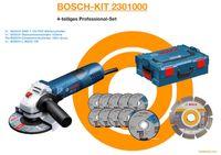 BOSCH SET Winkelschleifer GWS 7-125, 1x Diamanttrennscheibe 10x Gewebetrennscheibe, L-Boxx